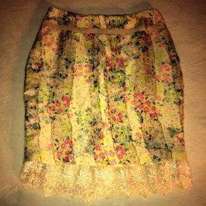 Vintaged Tracy Reese Lace Bottom Trim Skirt